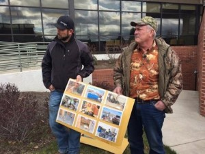 B.J. Soper of Redmond, member of Pacific Patriots Network, and former Harney County fire official Chris Briels speak at Bend news conference Tuesday, one of four held around West refuting federal claims of millions in damage caused to Malheur Refuge during 41-day occupation(Photo: Wanda Moore/KTVZ.COM)